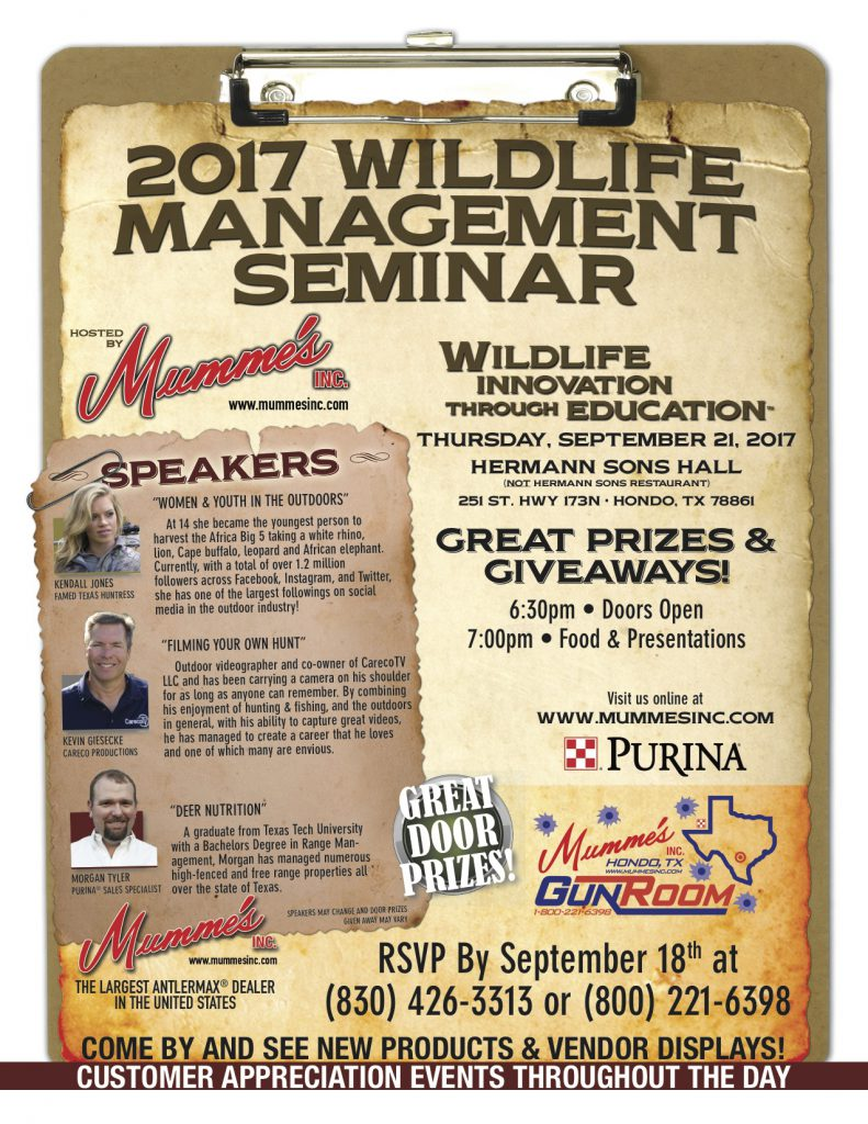 2017 Wildlife Management Seminar | Mumme's Inc.